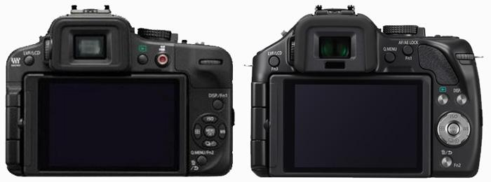 Layout comparison: the Lumix G3 is on the left, the G5 is on the right. You can see the different control layout and added curve to the body. Note, though, that the two images are not exactly to scale, so this is not a size comparison.