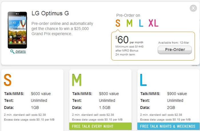 Telstra's pricing plans for the LG Optimus G.