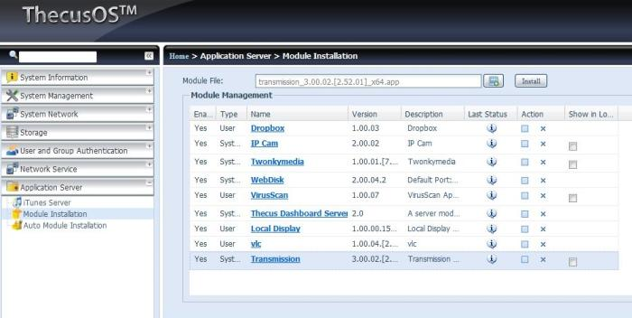 Module installation page and listing.
