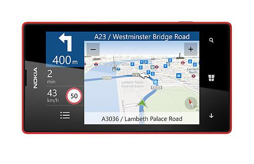 The Lumia 520 includes Nokia's Here Maps software which includes free turn-by-turn navigation.