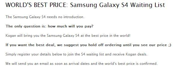 Kogan's waiting list page for the Samsung Galaxy S4.