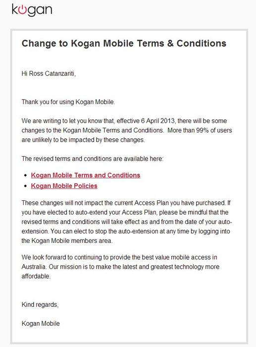 A screenshot of the email Kogan Mobile sent to its customers today regarding changes to the 'fair use policy'.