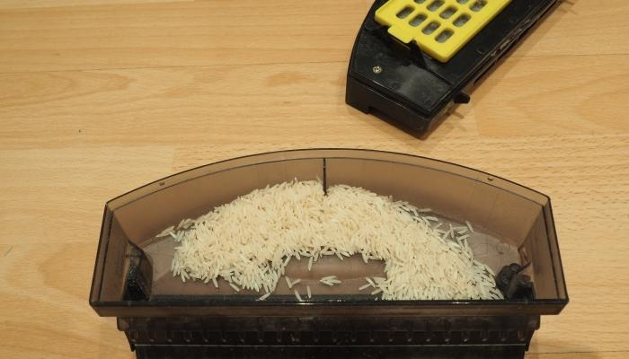 It was quite okay at picking up this rice, though its side brushes did kick some rice out of the way rather than in towards the vacuum's path.