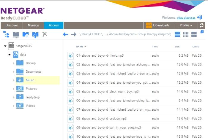 Folders and files can be easily downloaded through the ReadyCLOUD Web interface.