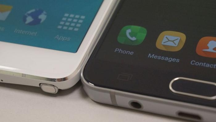 Samsung has managed to shave the bezel down between its old (left) and its new (right) Note smartphone
