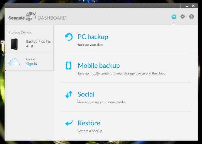 The Dashboard software can be used for backing up computers and using the cloud features.