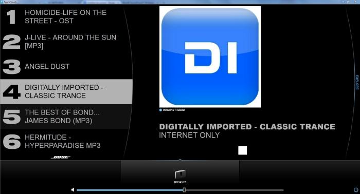 The desktop app looks exactly the same as the mobile app. In this shot you can see that we've used pre-set number 4 to store a Digitally Imported Internet radio stream.