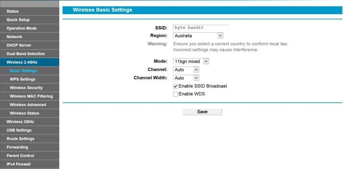 An example of a Web interface in which the Wi-Fi settings for the network name, security, and band, are on different pages.