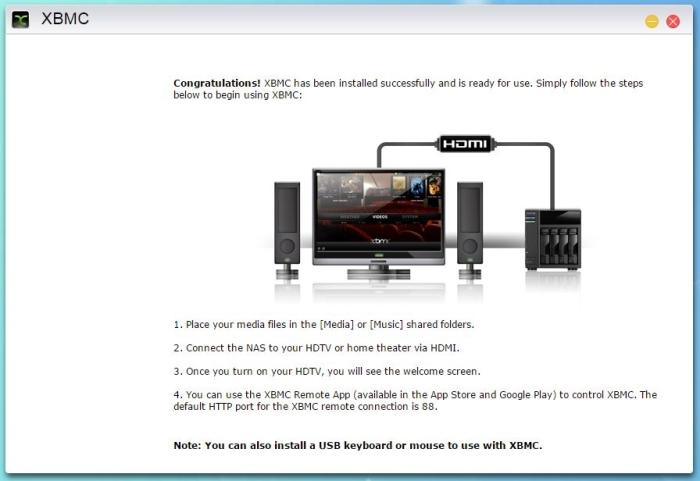 XBMC is available on this NAS. It allows you to plug the NAS into your TV directly and use it as a media player.