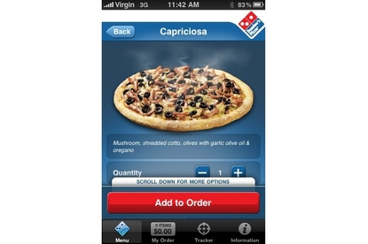 Domino's Pizza iPhone app (v1.1)